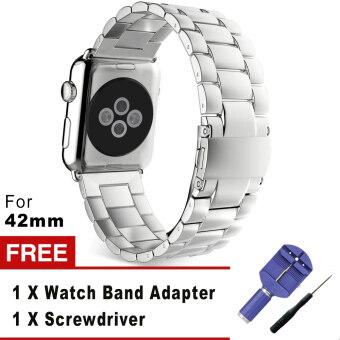 3 เนื้อโลหะสเตนเลสชี้ตรวจแทนสร้อยข้อมือกับปุ่มสองพับเข็มกลัดสำหรับ Apple Watch iWatch 42มม. (เงิน)