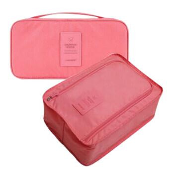 MONOPOLY กระเป๋าเก็บของใช้ส่วนตัวและชุดชั้นใน+กระเป๋าใส่รองเท้า (กันน้ำ) ป้ายซิลิโคนสี - Pale pink