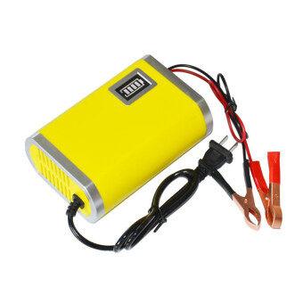 รถจักรยานยนต์รถรถยนต์ 12โวลต์ 6 Amps ชาร์จแบตเตอรี่เครื่องชาร์จอัจฉริยะ (สีเหลือง)