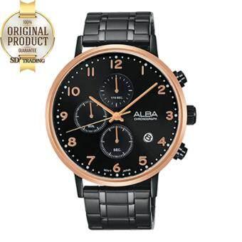 ALBA นาฬิกาข้อมือผู้ชาย Chronograph สายสแตนเลสรมดำ รุ่น AM3350X1 - สีดำ/สีPinkgold