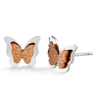555jewelry เครื่องประดับ ผู้หญิง ต่างหู สแตนเลสสตีล - ต่างหูสตั๊ด รูปผีเสื้อเล็กๆน่ารัก สี สตีล-พิ้งโกลด์ รุ่น MNC-ER472-C1