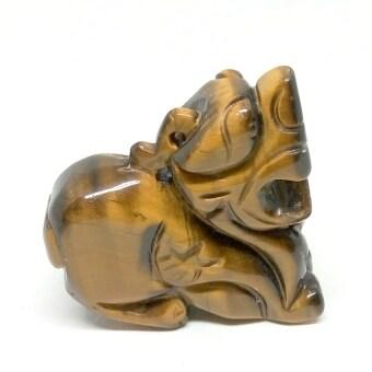 ปีเซี้ยะพลอยตาเสือแกะสลักรูปสิงห์ ขนาด 40 มม. พร้อมสร้อยเชือกถัก Tiger eye's