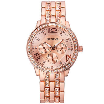 Geneva นาฬิกาข้อมือผู้หญิง นาฬิกาแฟชั่น สายสแตนเลส สีทองแดง Stainless Steel Diamond Women Watch - Rose Gold
