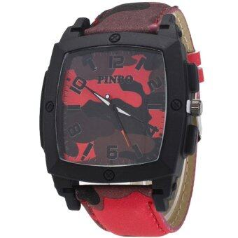 MEGA Quartz Waterproof Military Leather Watchband Sport Casual Wristwatch หรูหรานาฬิกาข้อมือ สายหนัง กันน้ำ รุ่น MG0019 (Red)