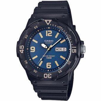 CASIO Standard นาฬิกาข้อมือผู้ชาย สีน้ำเงิน/ทอง รุ่น MRW-200H-2B3VDF