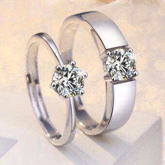 แหวนคู่รักประดับเพชรเม็ดใหญ่ (ขยายได้)