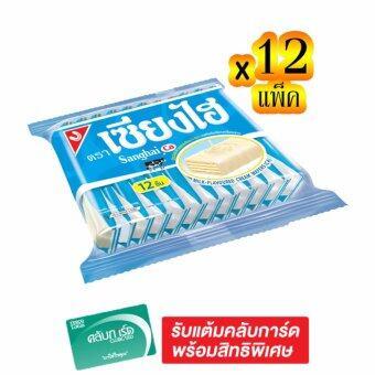SANGHAI เซียงไฮ เวเฟอร์เคลือบครีมรสนม 6 กรัม x 12 แท่ง (ทั้งหมด 12 แพ็ค)