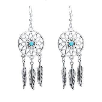 Harga BUYINCOINS Vintage Silver Feathers Turquoise Dream Catcher Ear Stud Dangle Earrings Jewelry Green - intl