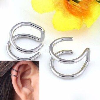 จิวหู ต่างหูผู้ชาย คู่ขนาน สีเงิน 1 คู่ จิลหู ตุ้มหู ผู้ชาย เครื่องประดับผู้ชาย men accessory cuff earrings ไม่เจาะหู เกาะหู