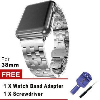 5 เนื้อโลหะสเตนเลสชี้ตรวจแทนสร้อยข้อมือกับปุ่มสองพับเข็มกลัดสำหรับ Apple Watch iWatch 38มม. (เงิน)