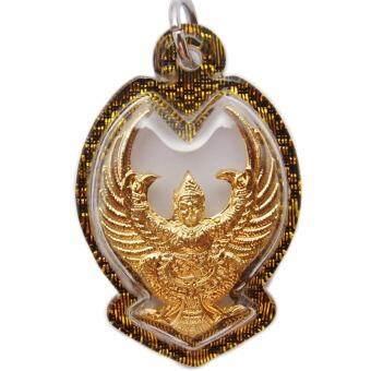 107Mongkol องค์พญาครุฑ มหาลาภ ปี 2559 หลวงพ่อวราห์ วัดโพธิ์ทอง ชุบกะไหล่ทอง เลี่ยมกรอบพลาสติกสีดำตัดลายทอง