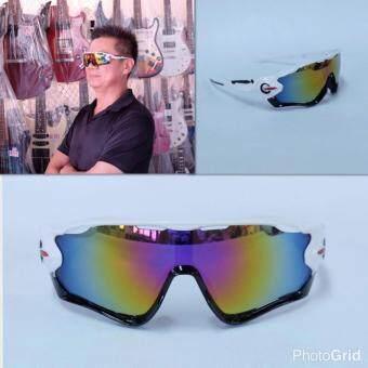 Hayashi - แว่นตาสำหรับปั่นจักรยาน แว่นตากันแดดเล่นกีฬา รุ่น Classic Joker เลนส์สีเทา กรอบสีขาว / ดำ