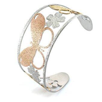 555jewelry 316L Bangle กำไลข้อมือ Sand dust Texture แบบตัว C รุ่น MNC-BG160-MT - Yellow Gold/Pink Gold