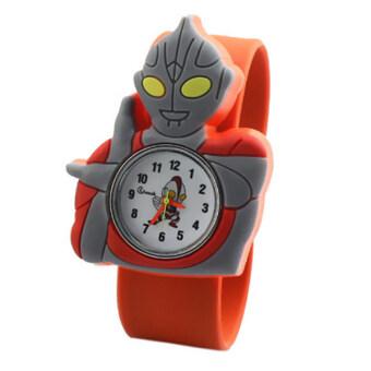 แฟชั่นนาฬิกาเวอร์ชันการ์ตูนเด็กถามคุณภาพสูงอุลตราแมนนาฬิกาข้อมือส้ม