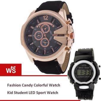 MEGA Luxury Quartz Waterproof Leather Watchband Outdoor Fashion Sport Watch หรูหรานาฬิกาข้อมือ สายหนัง กันน้ำ รุ่น MG0018 (Gold/Black) (ฟรี Fashion Candy Colorful Kid Student Sport LED Watch)