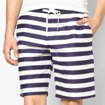 Play Hard กางเกงขาสั้น ลำลอง ลายขวาง สีน้ำเงิน ขาว