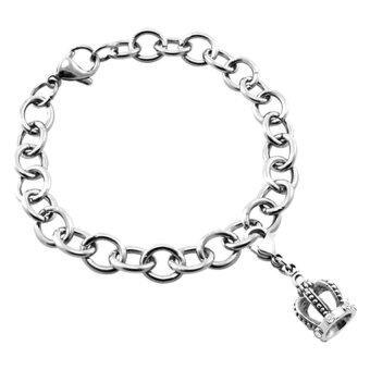 555jewelry สร้อยข้อมือ พร้อม Charm รูปมงกุฎสี Steel รุ่น SSCH-075 สี Steel