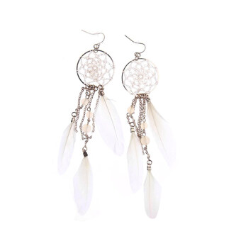Harga Cocotina New Bohemia Feather Beads Long Design Dream Catcher Earrings For Women Jewelry - White
