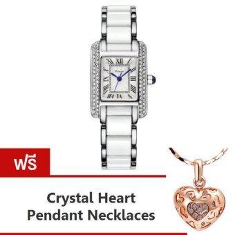 Kimio นาฬิกาข้อมือผู้หญิง สีขาว/เงิน สาย Alloy รุ่น KW6036 แถมฟรี สร้อยคอพร้อมจี้ Crystal Heart Pendent Necklaces มูลค่า 299-