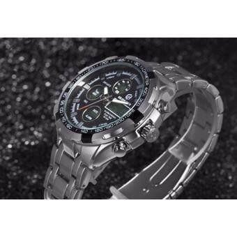 นาฬิกาข้อมือ GOLDENHOUR GH03-BLK นาฬิกาผู้ชายสายสเตนเลสสตีล สไตล์อนาล็อก