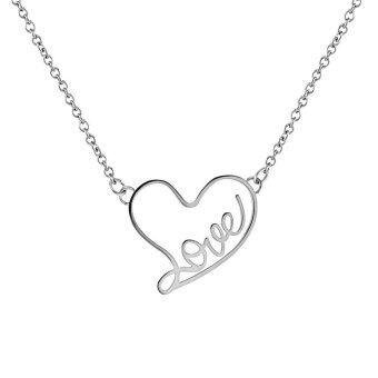555jewelry จี้ พร้อมสร้อย สแตนเลสสตีล - จี้ ผู้หญิง ดีไซน์น่ารักฉลุคำว่า Love เป็นรูปหัวใจ (สี สตีล)