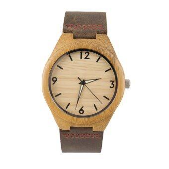 โอ๊ยนาฬิกาควอทซ์หน้าปัดนาฬิกาไม้สไตล์วินเทจผู้ชายผู้หญิงคู่นาฬิกาสีน้ำตาลสาย