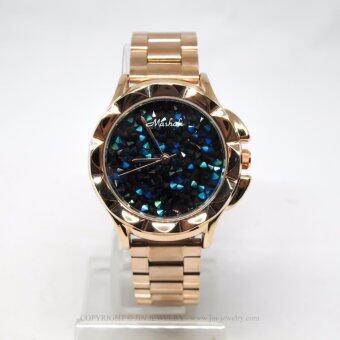 Mashali นาฬิกาข้อมือแบรนด์แท้ รุ่น M-88115B-rosegold-blue