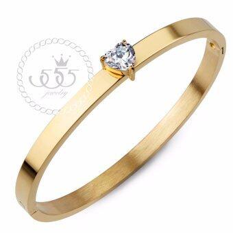 555jewelry กำไลข้อมือ ประดับ CZ รูปหัวใจ สี ทอง รุ่น MNC-BG256-B - กำไลข้อมือดีไซน์เรียบ สแตนเลสสตีล (BG35)