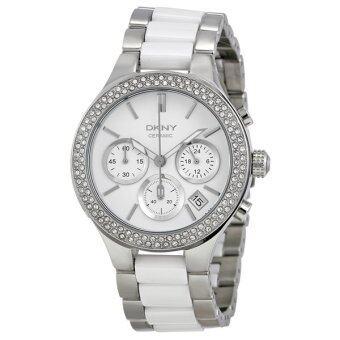 DKNY นาฬิกาข้อมือผู้หญิง รุ่น NY8181 สายแสตนเลสสีขาว-เงิน หน้าปัดสีขาว