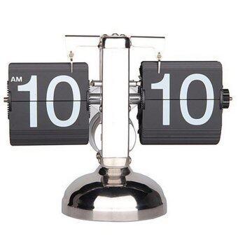 Retro Auto Flip Style Scale Design Single Stand Metal Desk Clock Black