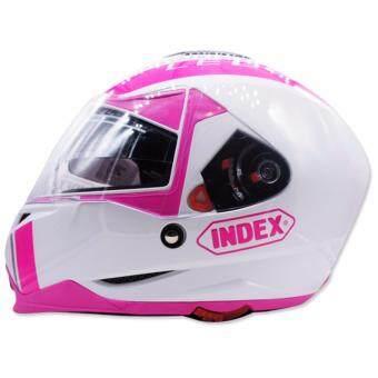 เปรียบเทียบราคา INDEX หมวกกันน๊อคเต็มใบ รุ่น LEGENDA (i-shield) หน้ากาก 2 ชั้น สีขาว/คาดชมพู