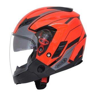 INDEX TESLA หมวกกันน็อค (เหมาะสำหรับหัวขนาดใหญ่) สีส้ม