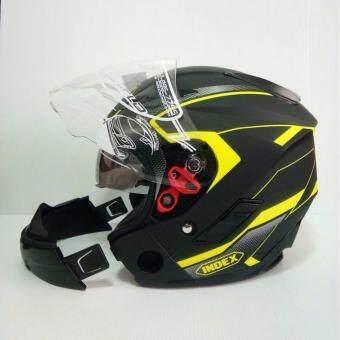INDEX หมวกกันน็อค รุ่น TESLA ถอดคางได้ มีแว่น 2 ชั้น สีดำด้าน/เขียวด้าน