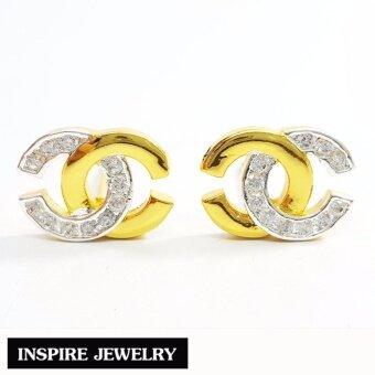 Inspire Jewelry ,ต่างหูCN ฝังเพชร งานจิวเวลลี่ หุ้มทองแท้ 100% 24Kสวยหรู พร้อมถุงกำมะหยี่