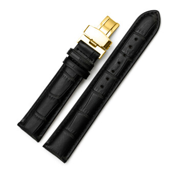 iStrap 18mm Calf Leather Watch Band Replacement Strap W/ Golden Tone Steel Deployant Buckle Black