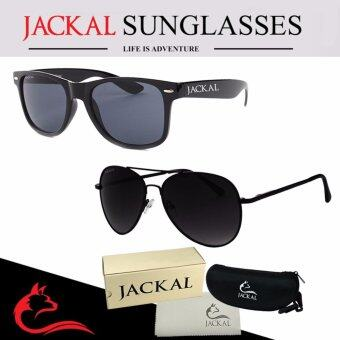 JACKAL แว่นกันแดด JACKAL SUNGLASSES รุ่น TRAVELLER JS001 และ Shipmaster I JS029 (แว่นกันแดดคู่) Black and Black(Black Black)