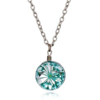 Jiayiqi Double Sided Glass Ball Dry Flowers Necklace (Light Cyan)- Intl