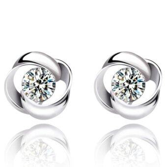 Jiayiqi Women's White Crystal 925 Sterling Silver Color Twisted Studs Earrings