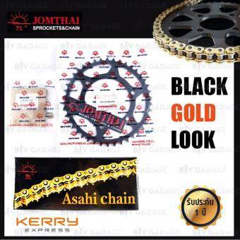 Jomthai ชุดโซ่ X-ring (ASMX) สีทอง-ทอง และ สเตอร์เปลี่ยนบิ๊กไบค์ Kawasaki รุ่น Ninja250 Ninja300 Z250 Z300 สเตอร์หลังสีดำแต่ง [14/42 ฟัน]