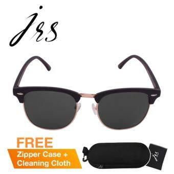 JRS แว่นกันแดดสำหรับทั้งชายและหญิง กรอบทรงครึ่งเฟรมสีดำ เลนส์ป้องกันรังสี UV400 สีดำ P2563-SD