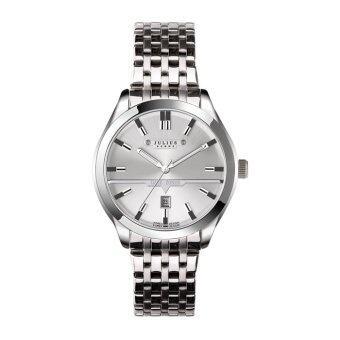 ประเทศไทย Julius Homme นาฬิกาสำหรับผู้ชาย สีเงินหน้าขาว สายสแตนเลส รุ่น JAH-086