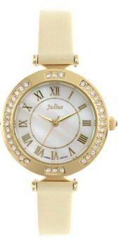2561 Julius นาฬิกาข้อมือผู้หญิง สีครีม สายหนัง รุ่นJA-681D