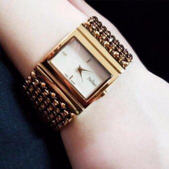 JULIUS นาฬิกาแบรนด์เกาหลี สายสแตนเลส รุ่น JA435 สายสีทอง(GOLD)หน้าปัดสีขาว(WHITE) BY BUDGERIGAR TIME
