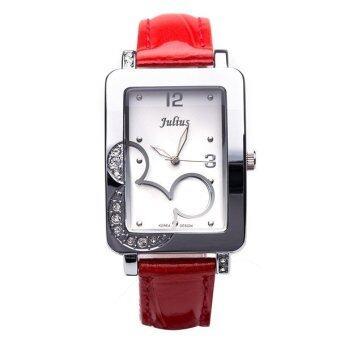 Julius นาฬิกาข้อมือผู้หญิง สีแดง สายหนัง รุ่น JA447