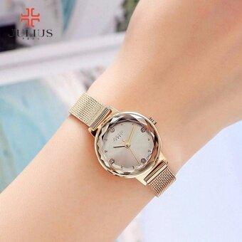 JULIUS นาฬิกาแบรนด์เกาหลี สายสแตนเลส รุ่น JA917 สายสีทอง(GOLD) หน้าปัดสีทอง(GOLD) BY BUDGERIGAR TIME