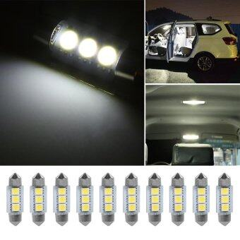 Justgogo 10PCS 12V 3 SMD 5050 Car LED Dome Light Interior Lamp White