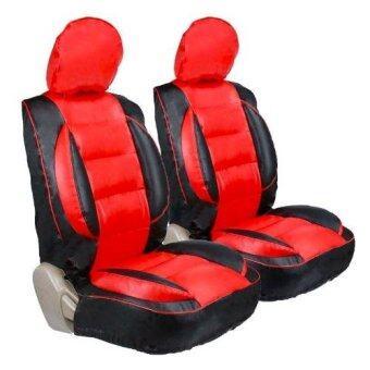 K-RUBBER ชุดหุ้มเบาะแบบสวมทับ Free Size ชุดคู่หน้า (สีดำ/แดง)