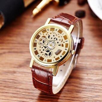 2561 KATI watchนาฬิกาข้อมืออนาล็อกสายหนัง หน้าปัดเปลือยวินเทจ ตัวเลขโรมัน นาฬิกาแฟชั่นผู้ชายWatch00097-brownสีน้ำตาล