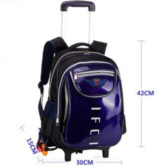 Harga Kids School Trolley Bag Climb Stairs 6 Wheel 2-6 Grade Dark blue -intl