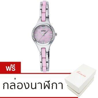 Kimio นาฬิกาข้อมือผู้หญิง สไตล์ Casual Bussiness Watch Watch ดีไซน์เกาหลี กันน้ำ สายประดับสีชมพู รุ่น K449L สีชมพู (Pink)